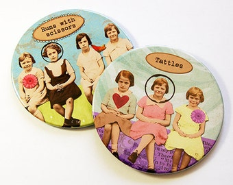 Drink Coasters, Funny Coasters, Wine Coasters, Coasters, Gift for Girlfriend, Gift for friend, humor, Runs with Scissors, Tattles (5183b)