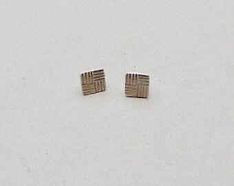 SALE / Porcelain square stud earrings- white, gold, vintage style post earrings, minimalist studs, porcelain jewelry, porcelain earrings