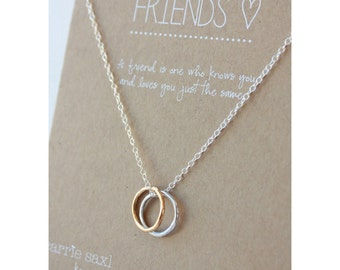 Friends Necklace - Christmas gift - silver and gold rings - best friends jewelry - bridesmaid gift - sisters jewelry- jewelry gift