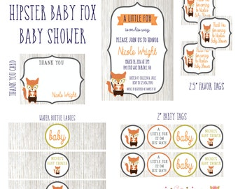 A Hipster Little Fox Is On His Way PRINTABLE Party - Personalized / Customized Party