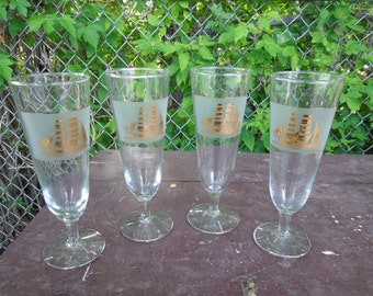 "Culver Clipper Ship Glasses Pilsner Fluted Champagne Set of 4 Nautical Gold White Retro Barware Drinking Glasses 8 1/4"" Tall"