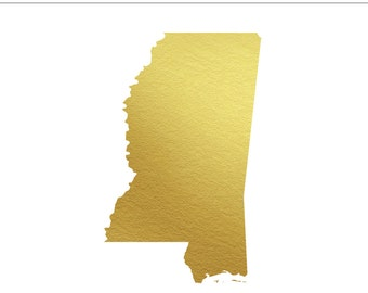 Mississippi State Gold Foil State Clip Art Personal & Commercial Use - Jackson, Wedding, Biloxi, Magnolia State, MS - INSTANT DOWNLOAD