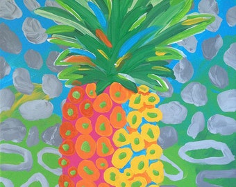 Pineapple Art Fruit Painting Modern Fruit Art Impressionistic Colorful Canvas Painting 11 x 14