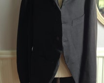 Victorian Era Black Wool Felt Formal Waistcoat / Small Size Boys Victorian Waistcoat / Steampunk Victorian Waiscoat / Unisex Waistcoat