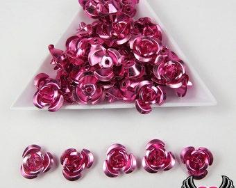 50 pc ALUMINUM ROSE BEADS, 12mm Violet Pink Aluminum Flowers, metal flower beads, flower embellishments