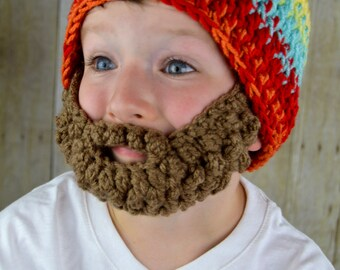 Beard Hat- Bearded Beanie Hat for Boys Colorful
