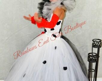 Cruella De Vil inspired tutu Dress size 2t - girls size 8