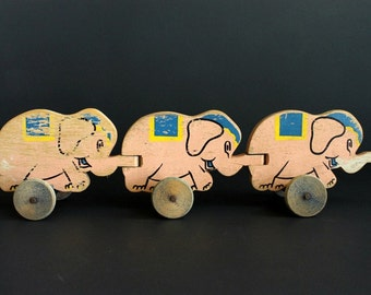 Vintage Elephant Pull Toy Wood Cut Out Circus Elephants