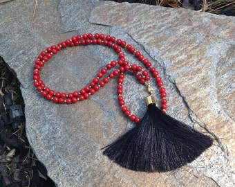 Georgia Bulldogs Tassel Necklace, UGA, Red and Black Long Necklace, The Persnickety Cricket - The Gameday Collection