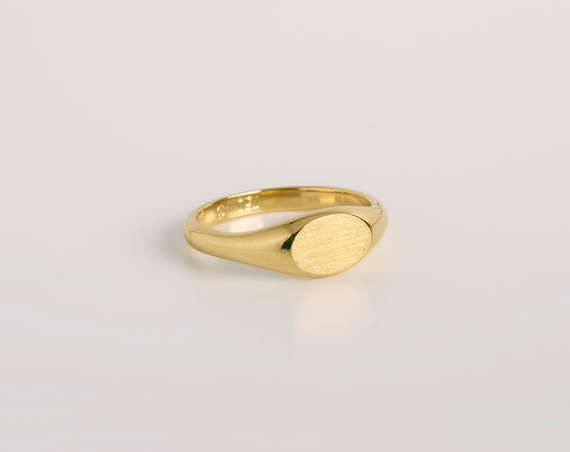 Oval Pinky Signet 14k 18k Solid Gold Ring By Bermandesigners