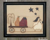 "Primitive Handpainted Canvas-Framed 8"" x 10""-Saltbox House, Willow Tree, Sheep, Pear, Black Crow, Stars"