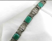 Heavy Art Deco Green Chalcedony and Marcasite Sterling Bracelet; Fabulous, Fun and Funky Art Deco Bracelet; Art Deco Link Bracelet