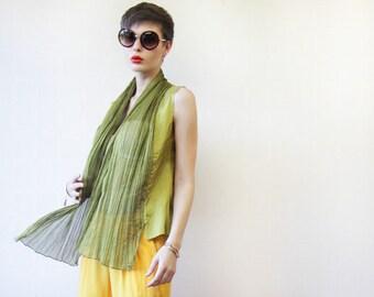 RENÉ LEZARD lime green draped front sleeveless vest top blouse