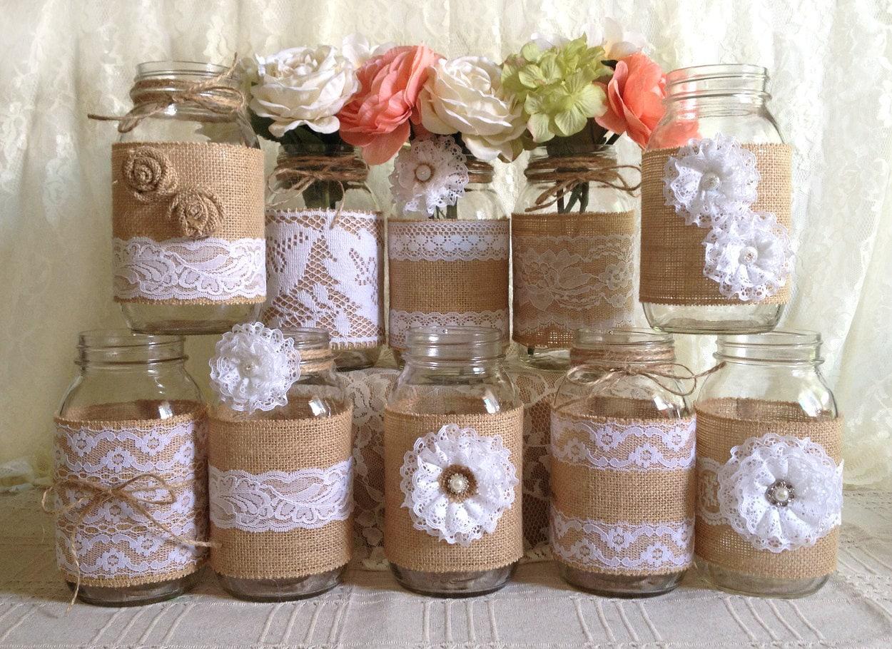 Vase Wedding Decoration Ideas: 10x Rustic Burlap And White Lace Covered Mason Jar Vases