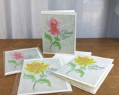 Set of Four Thank You Cards / Vintage Embroidered Flower Print / Sleeved A2 Size with Envelopes