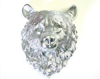 Large Faux Taxidermy Bear Head wall mount wall hanging in silver // woodland decor //nursery //office //kids room // modern lodge // cabin