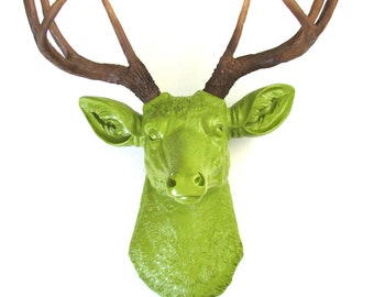 CHARTREUSE Faux Taxidermy Deer Head wall mount stag wall hanging home decor in Chartreuse with Natural-Looking Antlers Deerman the Deer Head