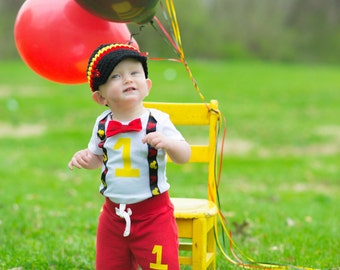 Mickey Mouse Inspired Birthday Bow Tie and Suspender Bodysuit, Baby Boy First Birthday Clothing Little Man Tie Outfit