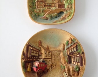 Vintage Chalkware 3D Wall Plaque By Legend Products, Set of two, Made in England, Vintage Wall Hangings, Vintage Cottage, 1970s, 70s, 1974