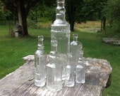 7 Clear Glass Bottles Wedding Decor Rustic Wedding Bottle Tree Bottles Vintage Wedding Wedding Centerpieces Glass Bottle Collection