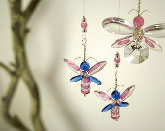 Fairy Mobile Kids Gift Ideas Pink Baby Room Decor Butterfly Mobile Hanging Mobile Crystal Suncatcher Butterfly Ornament Glass Window Charm