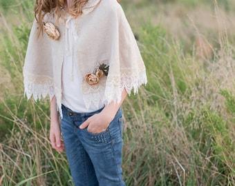 Marie - Floral Linen Girls Cape