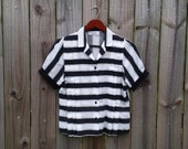 S M Small Medium Vintage 80s Black White Striped Beetlejuice Kawaii Hipster Indie Short Sleeve Pleated Collar Button Up Shirt Blouse Top