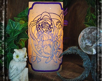 "The Goddess-Nyx From the ""God and Goddess"" Set, Embroidered Candle Wrap For LED Flameless Pillar Candles."