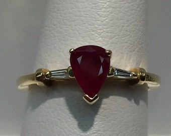 Ruby and Diamond Ring in 14K Gold