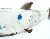 SUSHI Ormon #8, Reclaimed wood and rusty steel fish art, salvaged original chippy painted surface, folk art