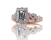 Bubbling Emerald Cluster Diamond Engagement Ring