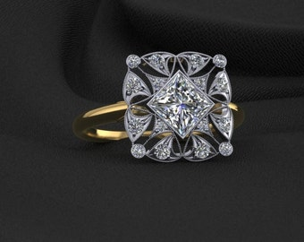 1ct Princess Diamond Two Tone Lace Ring 14K Gold