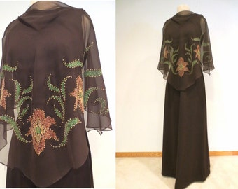 SALE** 1970's Rich Brown Faux-Beaded Dress - Knit Under-Dress with Painted Chiffon Flowy Cape Style Overlay