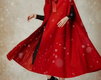 Wool Coat In Red, Hooded Wool Coat, Hooded Jacket, Red Coat,little Red Riding Hood, Wool Cloak, Maxi Coat, Cashmere Coat, Christmas Gift