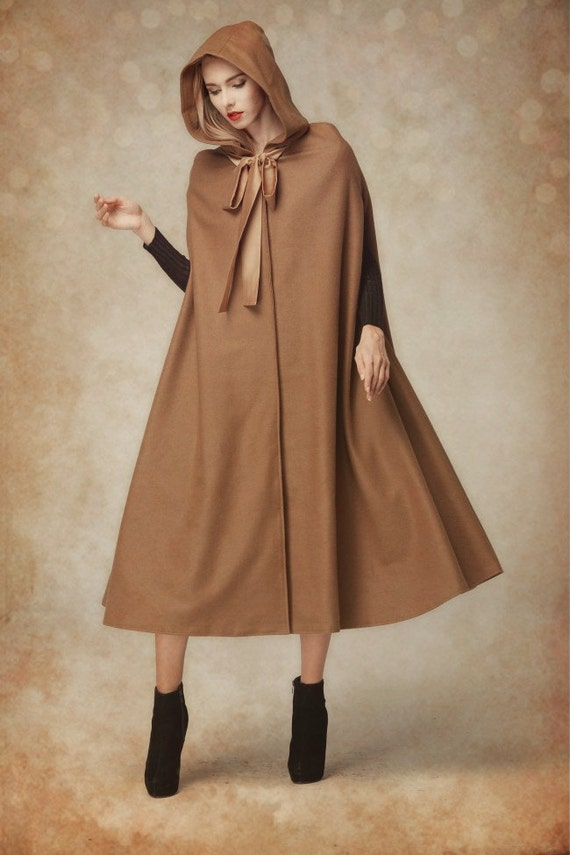 Wool Cloak Coat Hooded Cashmere Coat Jacket Wool by camelliatune