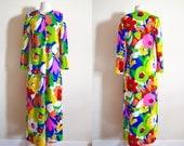 60s Pop Art Retro Duster, Vintage Caftan, Festival Wear Maxi Dress, Mod Robe, Moo Moo