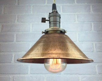 Copper Shade Pendant - Industrial Pendant Light - Ceiling Light - Industrial Lighting - Edison Bulb Pendant Lamp