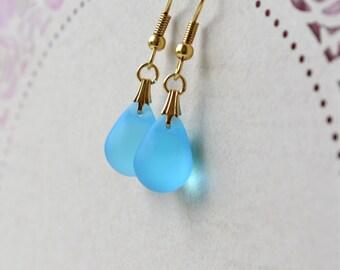 Aqua Earrings, Blue Dangle Earrings, Aqua Blue Teardrop Earrings, Blue & Gold Glass Bead Earrings, Blue Bridal Earrings, Wife Gift for her