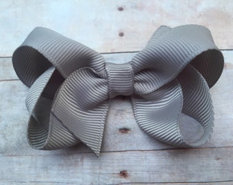 Gray hair bow, grey hair bow, silver hair bow