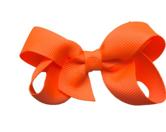 3 inch neon orange hair bow - orange bow, baby bow, toddler bow, boutique bows, girls hair bows, girls bows, orange hair bows, hair clips