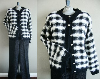 """Black and White Plaid Wool Blend Knit Cardigan Sweater Jacket with Silver Tone Buttons, Christopher & Banks, Sz M-L, Bust 34""""-40"""""""