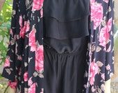 Rose Garden Kimono, Boho Free Size Kimono, Elegant Kimono Duster