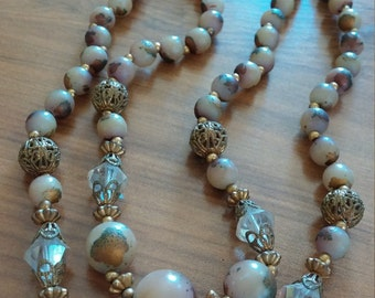 Vintage double strand choker of early plastic enameled beads