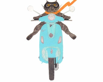 Black Cat Gift Cards - Cat on an Aqua Vespa - Single or Set of 4