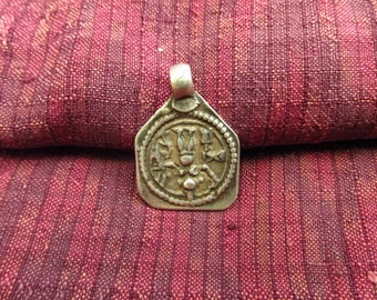 Antique Upside Down Silver Shiva Hindu Amulet