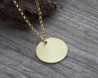 Gold circle necklace, Gold coin necklace, Reese Witherspoon gold disc necklace, Gold necklace, Simple Delicate, Wedding necklace, Sun drop