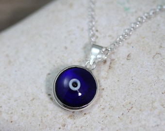 Delicate Necklace, Small Evil Eye Necklace . Sterling Silver Evil eye & chain, Blue Evil Eye Necklace, Celebrities Jewelry . Silver Evil Ey