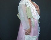 Whimsical Pink Girls Boho Dress with Handcrocheted Collar and Satin Slip