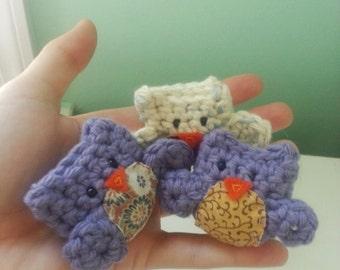 Owl Crochet Stuffed Doll Toy Round Adorable Purple