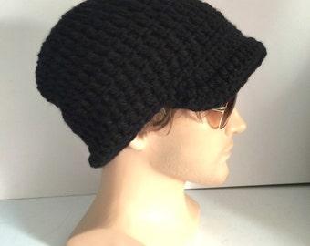 BUY1GET1HalfPRICE,black newsboy peaked cap,Designer mans/mens/unisex guy hand crocheted/knit classic beanie visor hat,irish gaming hat hippy